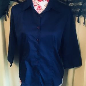 🎆5 FOR $25 IRIDESCENT BLUE BUTTON FRONT BLOUSE